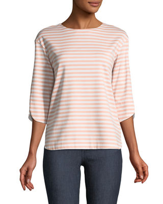 Image 1 of 3: 3/4-Sleeve Striped Jersey Tee