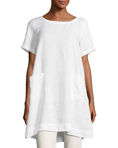 Eileen Fisher Short-Sleeve Organic Linen Dress and Matching
