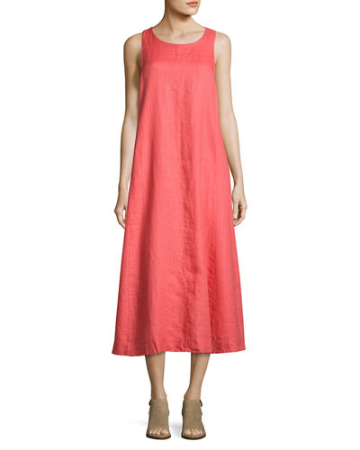 Sleeveless Organic Handkerchief Linen Long Dress