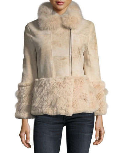 Belle Fare Paneled Shearling Crop Jacket w/ Fox