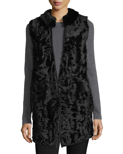 Long Shearling Button-Front Reversible Wool Vest