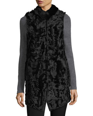 Belle Fare Long Shearling Button-Front Reversible Wool Vest