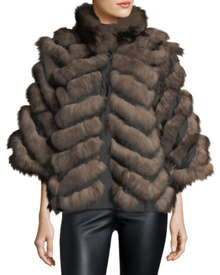 Chevron Fox Fur Reversible Cape Coat