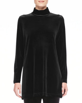 Joan Vass Velour Long-Sleeve Turtleneck Tunic