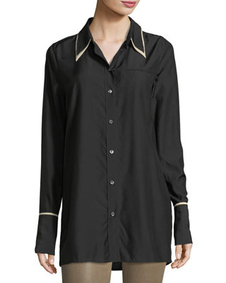 Blake Oversized Long-Sleeve Poplin Shirt