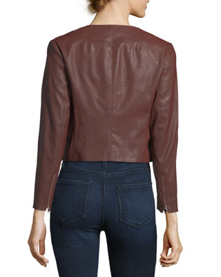Morene Round-Neck Cropped Lamb Leather Jacket