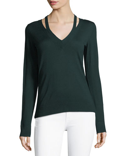 Theory V-Neck Long-Sleeve Wool Sweater