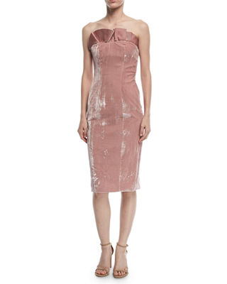 Image 1 of 2: Marceau Strapless Velvet Fitted Cocktail Dress