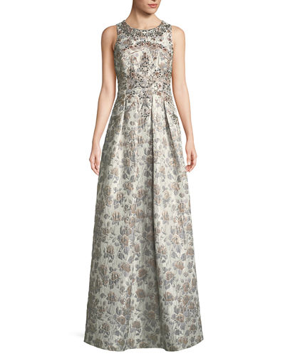 Sleeveless Metallic Brocade Embellished Evening Gown