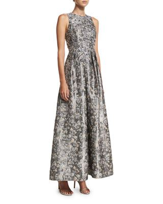 Aidan Mattox Sleeveless Metallic Brocade Embellished Evening Gown