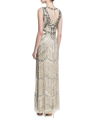 Beaded Deep-Neck Fringed Sleeveless Evening Gown