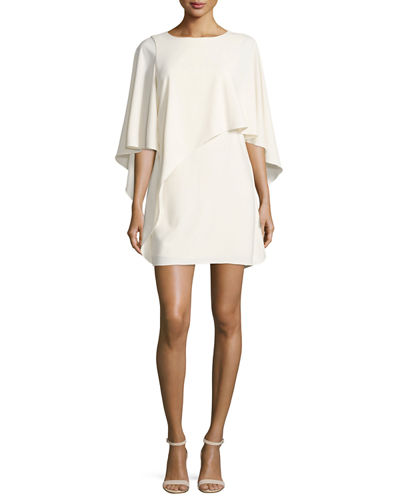 Halston Heritage Flowy Boat-Neck Asymmetric Drape Cocktail Dress