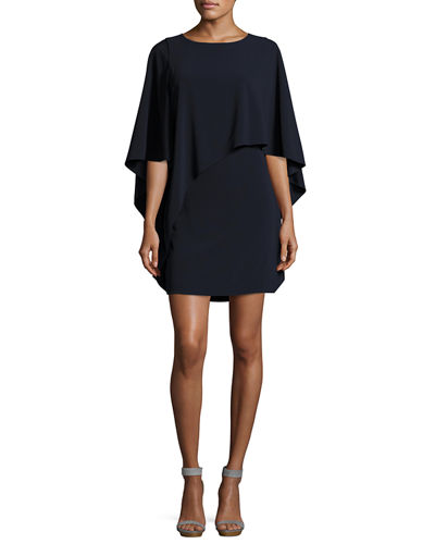 Flowy-Sleeve Boat-Neck Asymmetric Drape Dress