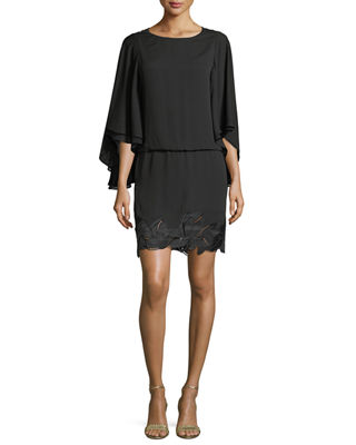 Halston Heritage Flowy Sleeve Boat-Neck Embroidered Blouson