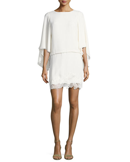 Halston Heritage Woman Off-the-shoulder Cotton-blend Mini Dress Ivory Size 4 Halston Heritage GNrYeX
