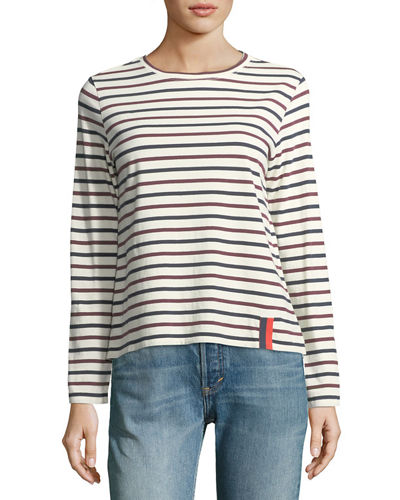 Crewneck Long-Sleeve Striped Cotton Top