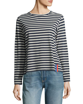 KULE Crewneck Long-Sleeve Striped Cotton Top, White/Blue in Navy