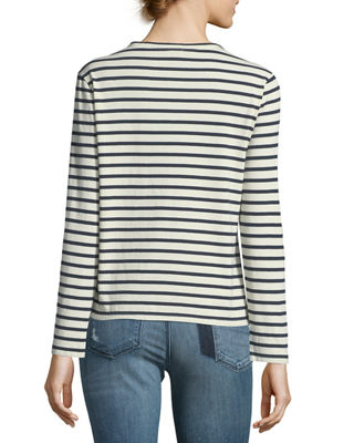 Image 2 of 2: Crewneck Long-Sleeve Striped Cotton Top