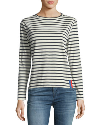 Image 1 of 2: Crewneck Long-Sleeve Striped Cotton Top