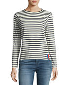 Kule Crewneck Long-Sleeve Striped Cotton Top
