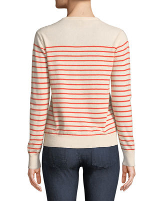 Image 2 of 2: Sophie Crewneck Striped Cashmere Sweater
