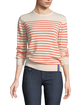 Image 1 of 2: Sophie Crewneck Striped Cashmere Sweater