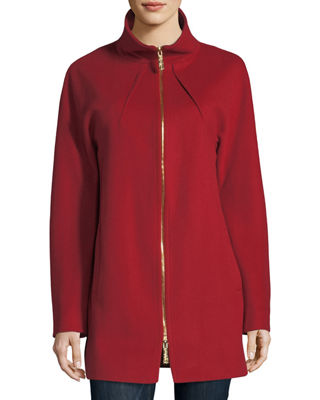 Funnel-Neck Zip-Front Coat