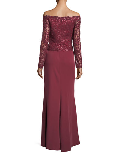 V-Neck Long-Sleeve Sequin Crepe Evening Gown