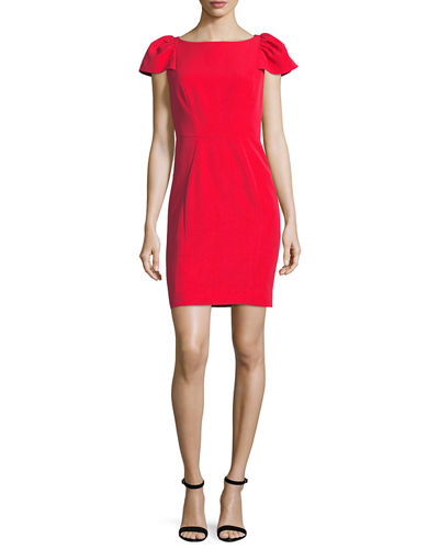Gathered Short-Sleeve Italian Cady Sheath Minidress