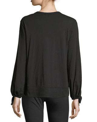 Image 2 of 3: Bow-Sleeve Crewneck Top