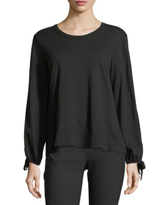 Image 1 of 3: Bow-Sleeve Crewneck Top