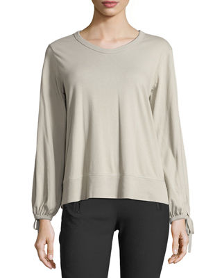 W BY WILT Bow-Sleeve Crewneck Top in Gray