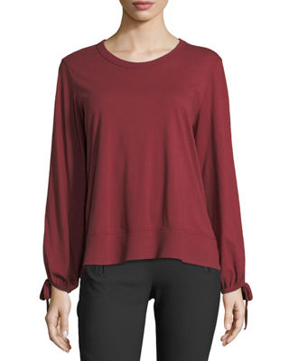 W BY WILT Bow-Sleeve Crewneck Top in Dark Red