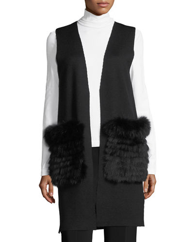 Roanne Sweater Vest w/ Removable Fur Trim