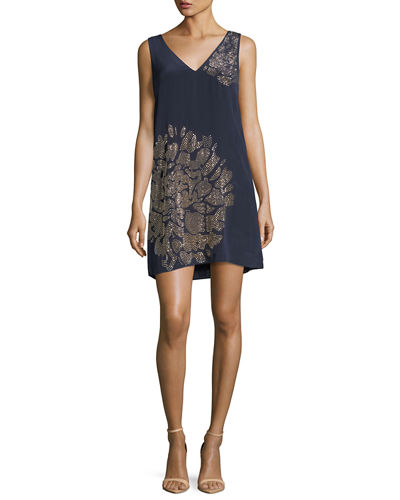 Sleeveless V-Neck Beaded Floral Embellished Silk Dress