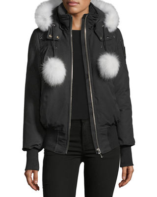 Moose Knuckles Debbie Long - Sleeve Zip - Front Bomber Jacket w /  Pompoms