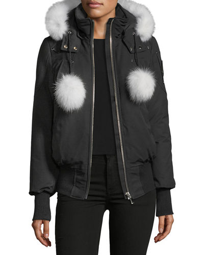 Debbie Long-Sleeve Zip-Front Bomber Jacket w/ Pompoms