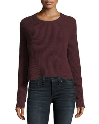 Autumn Cashmere Scalloped Shaker Crewneck Long-Sleeve Cashmere