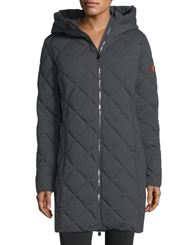 Angy Diamond-Quilted Zip-Front Puffer Coat