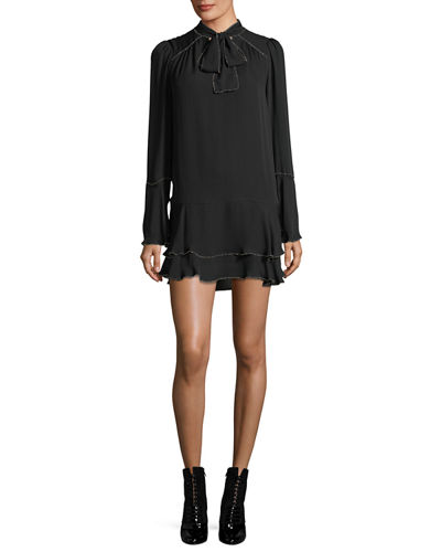 Cathryn Tie-Neck Beaded Silk Mini Dress