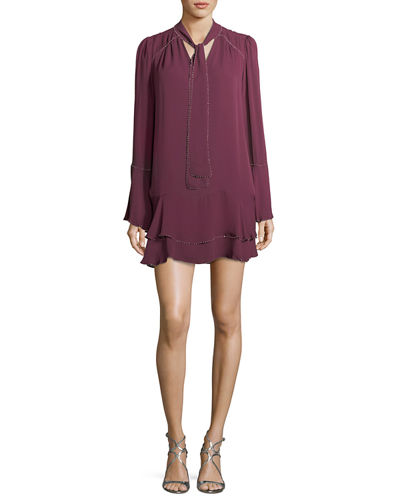 Parker Cathryn Tie-Neck Beaded Silk Mini Dress