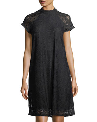 Laundry By Shelli Segal Mock-Neck Lace Swing Dress