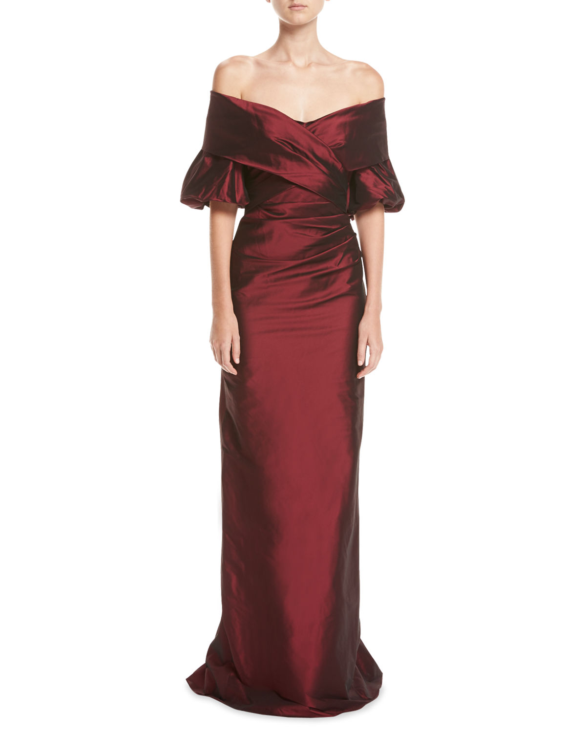 Off-the-Shoulder Portrait Puff-Sleeve Taffeta Evening Gown