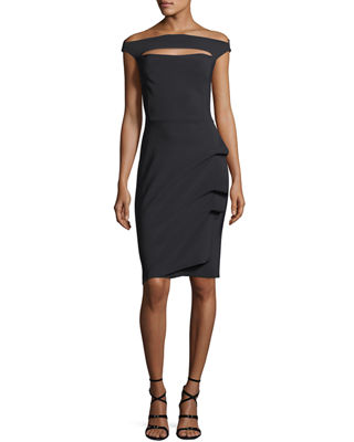 Chiara Boni La Petite Robe Off-the-Shoulder Cap-Sleeve Cocktail