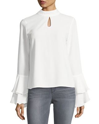 P. Luca High-Neck Bell-Sleeve Blouse