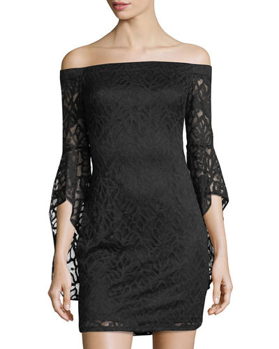 Bebe Off-the-Shoulder Lace Dress