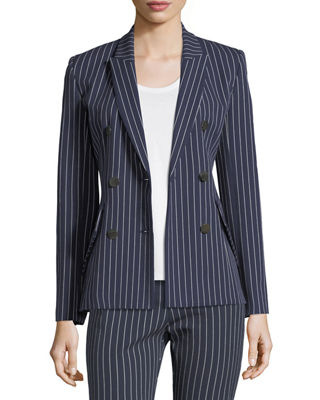 Derek Lam 10 Crosby Double-Breasted Striped Cotton Blazer