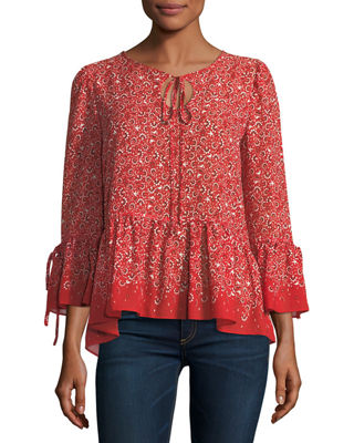 Max Studio Bell-Sleeve Printed Blouse