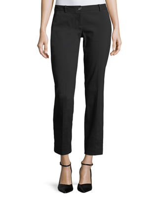 Miranda Slim-Leg Cropped Pants, Black