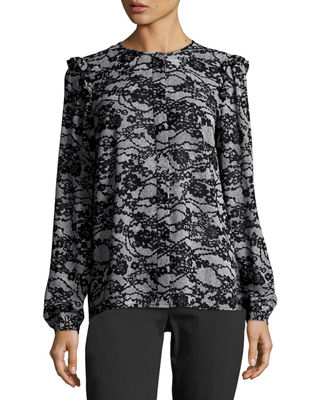 Image 1 of 2: Long-Sleeve Ruffled Delicate Lace-Print Top